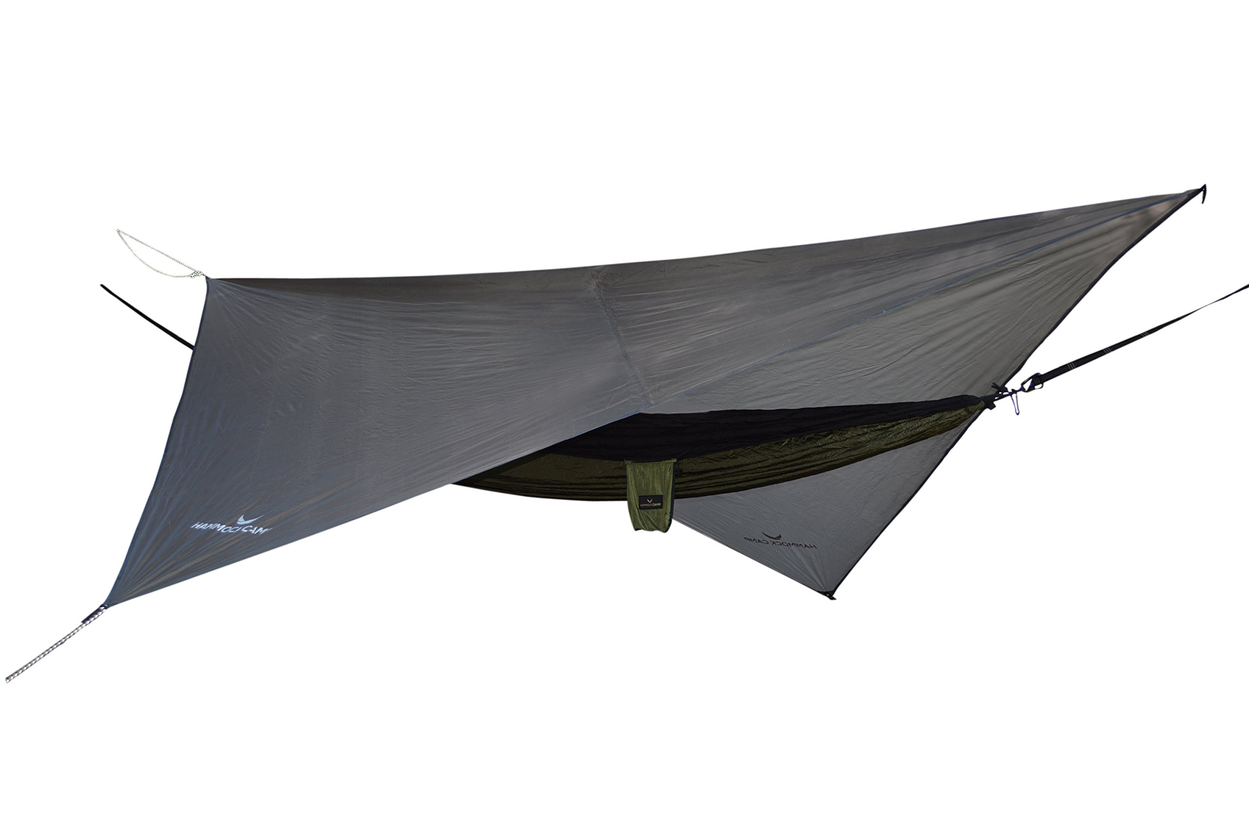 Hammock Camp - Easy Set Up Portable Hammock Fly Tarp Shelter - Quality Lightweight Waterproof Tent Polyester - Perfect Cover While Backpacking Outdoors Camping and Hiking - Gray by Hammock Camp