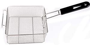 Stainless Steel Deep Fry Basket, Square Mesh Net Strainer Basket with Long Handle, Wire Mesh French Chip Frying Basket for Fries, Shrimps, Fish Frying Basket