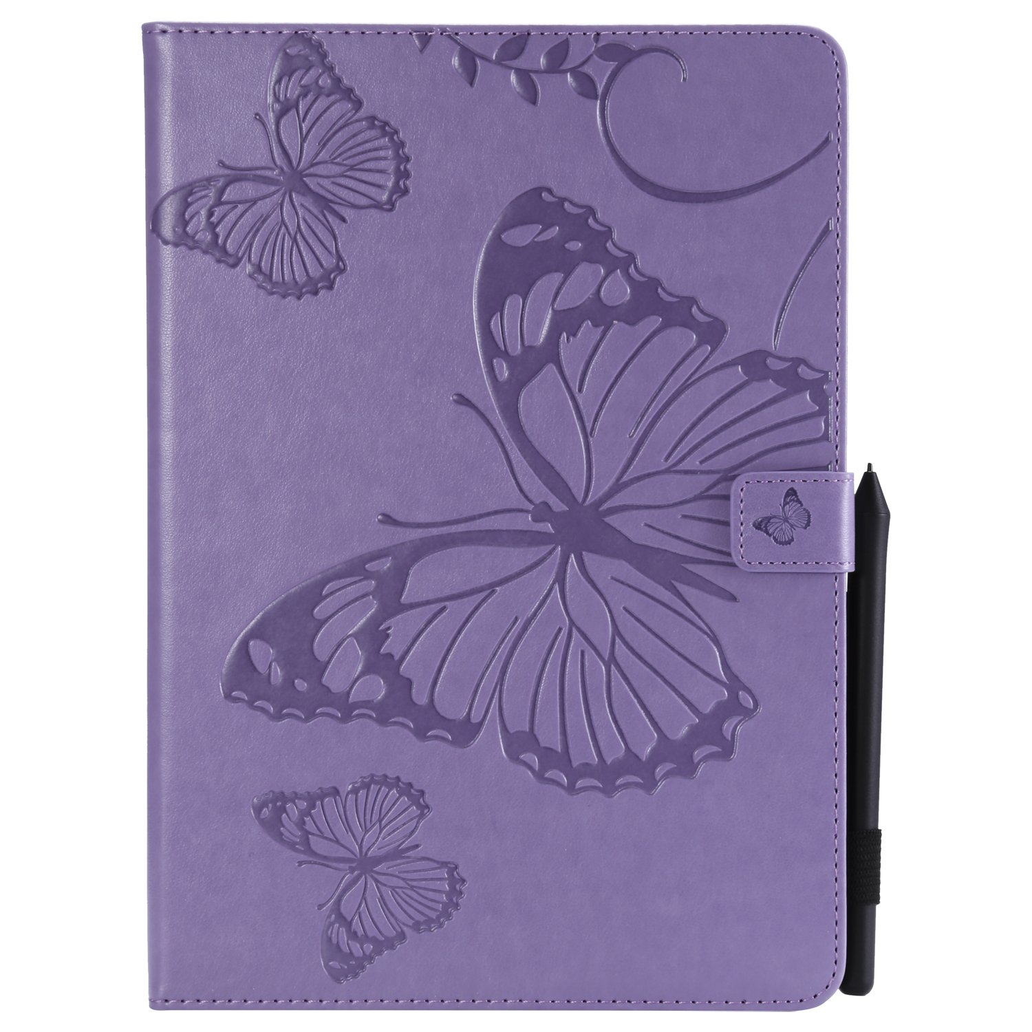 Bear Village iPad Pro 10.5 Inch Case, Butterfly Embossed Anti Scratch Shell with Adjust Stand, Smart Stand PU Leather Case for Apple iPad Pro 10.5 Inch, Purple by Bear Village