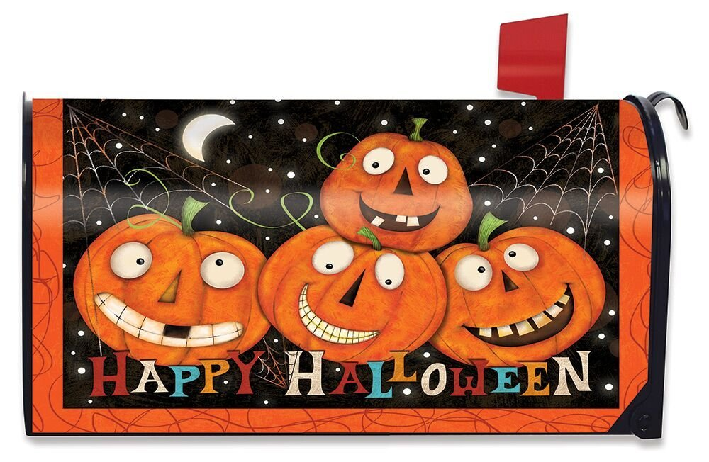 Briarwood Lane Happy Jacks Halloween Magnetic Mailbox Cover Jack o'Lantern Humor Standard