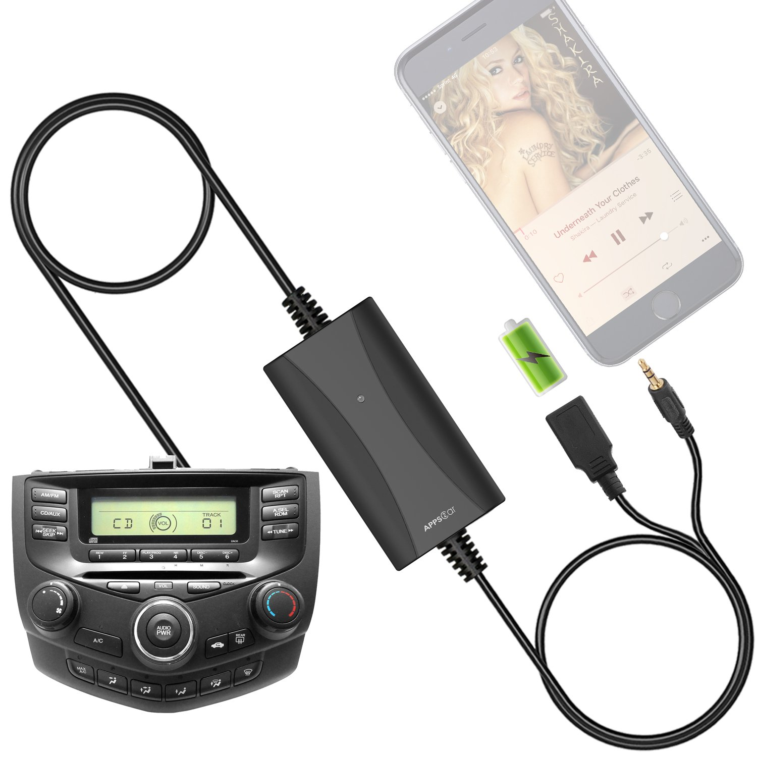 [New Generation] Car Stereo AUX Input Adapter, Honda Auxiliary Cable Cord USB Charger for Select Honda Civic CRV Accord Odyssey Pilot Fit Jazz Element Ridgeline S2000, Acura MDX RDX CSX ILX TSX TL RL