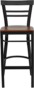 Flash Furniture HERCULES Series Black Two-Slat Ladder Back Metal Restaurant Barstool - Cherry Wood Seat