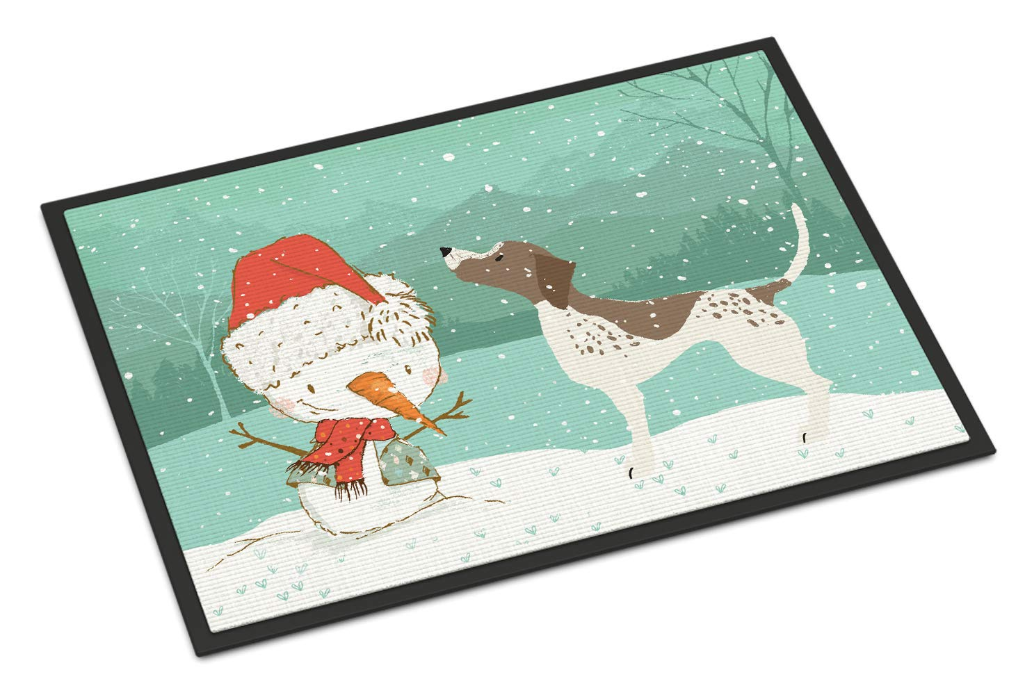 Carolines Treasures CK2045MAT German Shorthair Snowman Christmas Indoor or Outdoor Mat 18x27 18H X 27W Multicolor