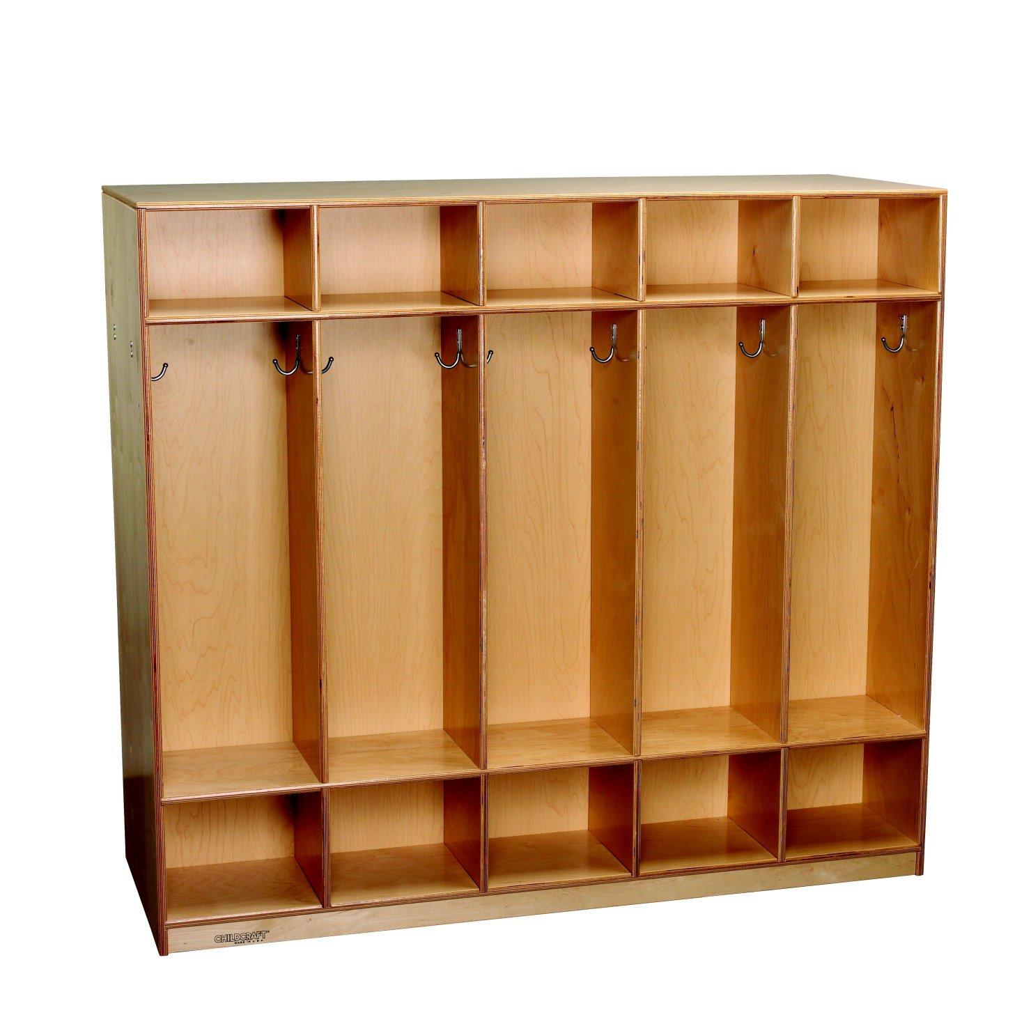 Childcraft 1464146 Double-Sided Coat Locker, Wood, 53-3/4'' x 19-1/2'' x 48'', Natural Wood Tone