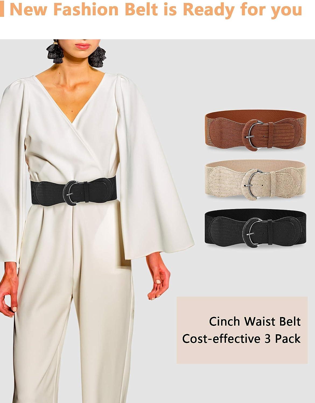 3 piezas de Ancho para Mujer Cintur/ón de Cintura El/ástico Cinch Belt Cintur/ón El/ástico de Cuero para Damas Vestido de Decoraci/ón