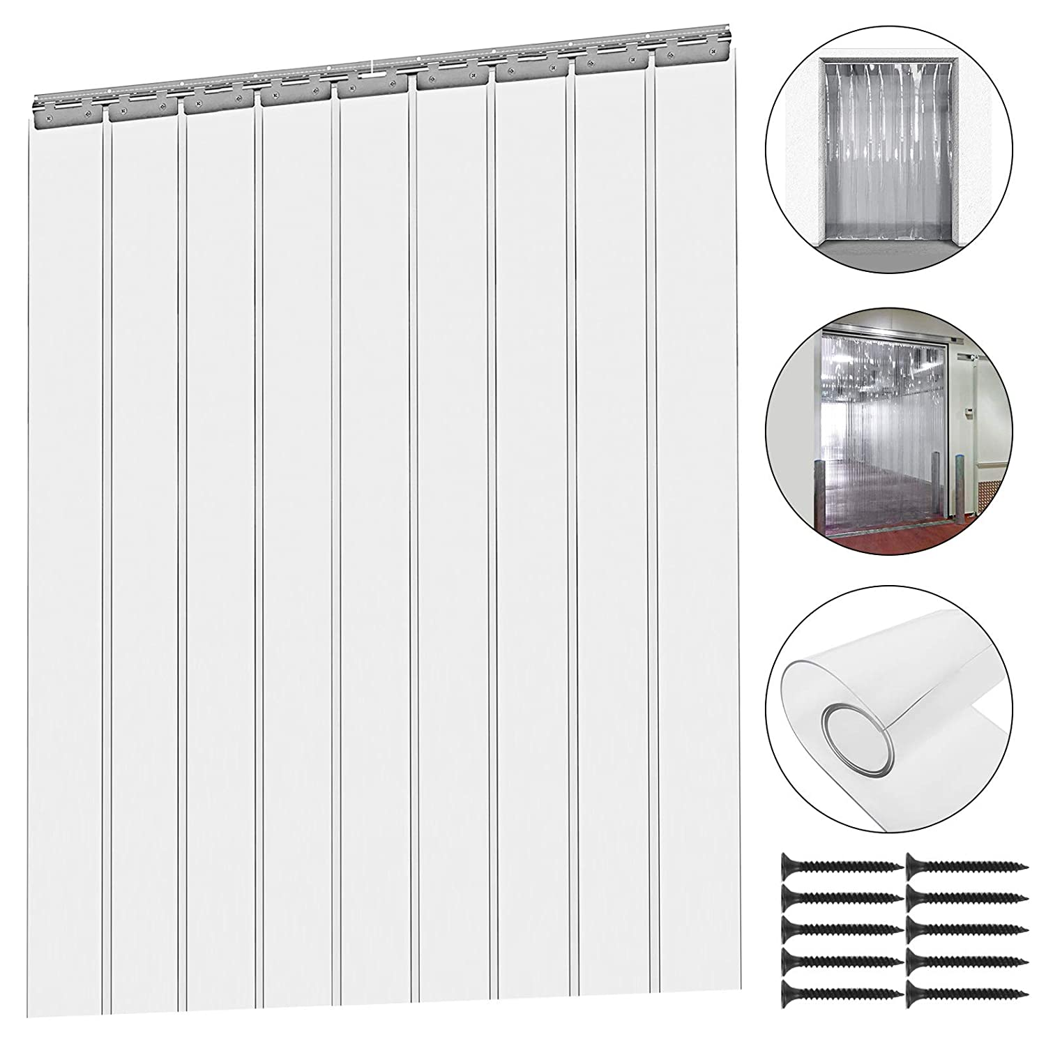 Mophorn 9PCS Plastic Curtain Strips 82.6 Inch Height X 6 Inch Width Strip Door Curtain 0.08 Inch Thickness Clear Curtain Strips with 50% Overlap for 3' X 7' Doors