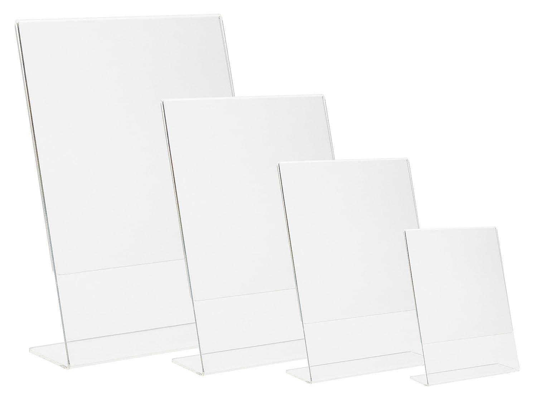 Karteo® L-Form Werbeaufsteller | L-Aufsteller | Info Ständer | Tischschild hochkant vertikal | Tischaufsteller a7 | Sichtfläche einseitig | Maße: 76 x 107 mm