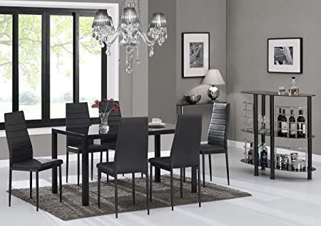 EBS® Black Glass Dining Table Set And 6 Chairs Dining Room Furniture Set    Modern