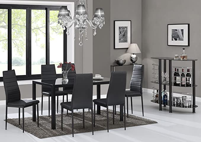 Review EBS 7 Piece Kitchen Dining Table Set 6 Modern Glass Top Table Rust Resistant Metal Chairs Rectangular Black