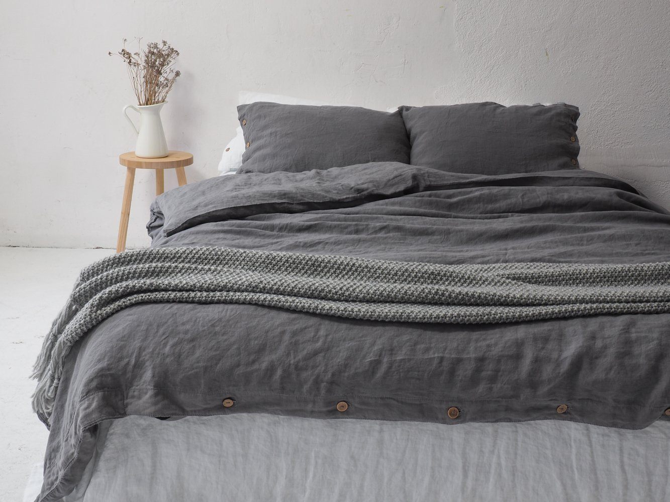 True gray LINEN DUVET COVER with coconut buttons. Queen size, king size.