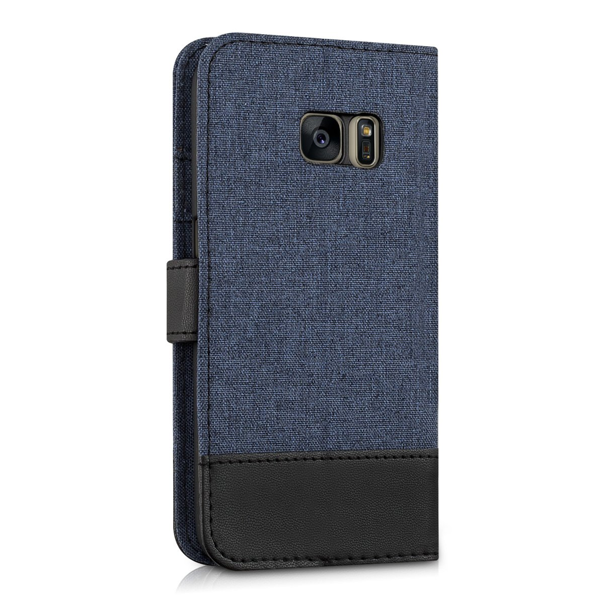 Fabric and PU Leather Flip Cover with Card Slots and Stand Dark Blue//Black kwmobile Wallet Case for Samsung Galaxy S7