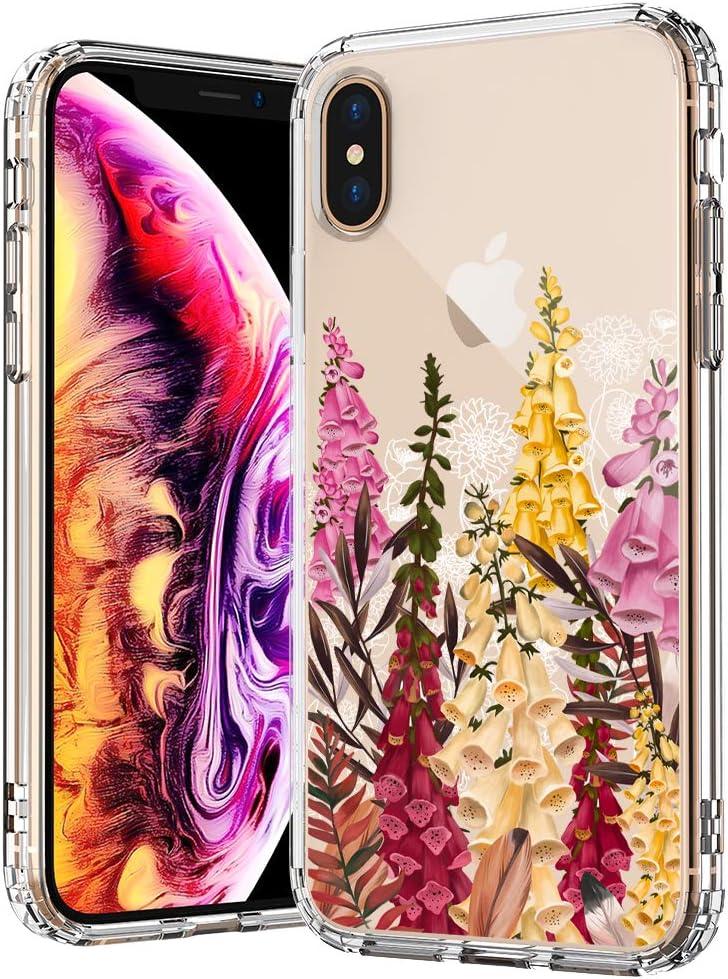 MOSNOVO Cute Foxglove Floral Flower Pattern Designed for iPhone Xs Case/Designed for iPhone X Case - Clear