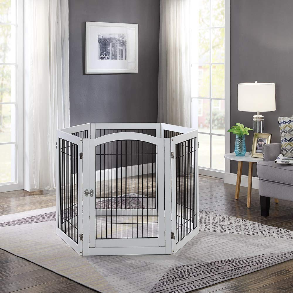 unipaws Pet Playpen with 4 Support Feet, 6 Panels Freestanding Dog Gate with Lockable Door, Foldable Stairs Barrier Pet Exercise Pen for Dogs Cats Pets, Safety Fence for Indoor Use by unipaws (Image #2)