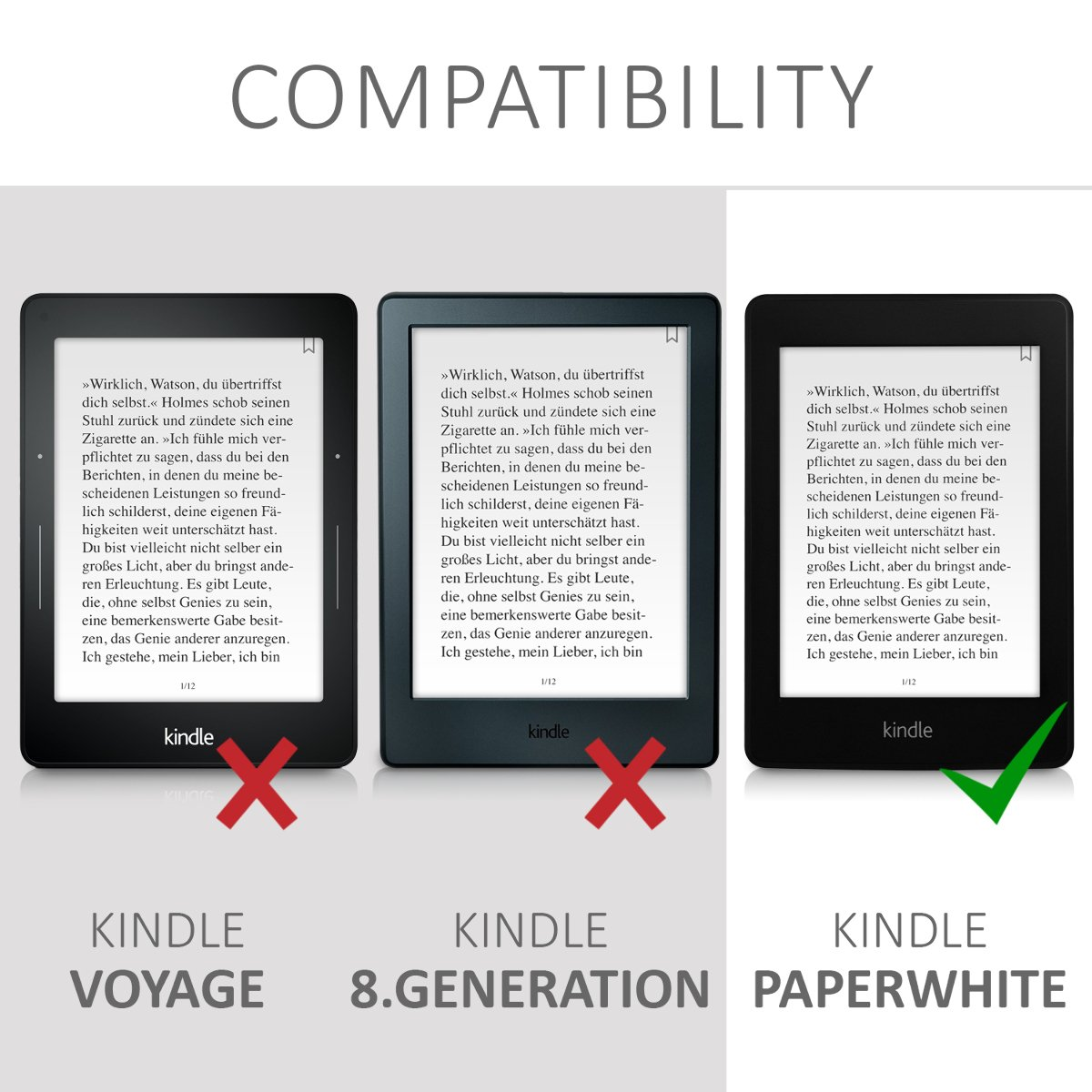 kwmobile Case for Amazon Kindle Paperwhite - Book Style Felt Fabric Protective e-Reader Cover Folio Case - black by kwmobile (Image #7)