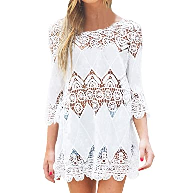 61770b38cc JXLOULAN Plain White Women Bohemian Crochet Beach Tunic Beach Kaftan Dress