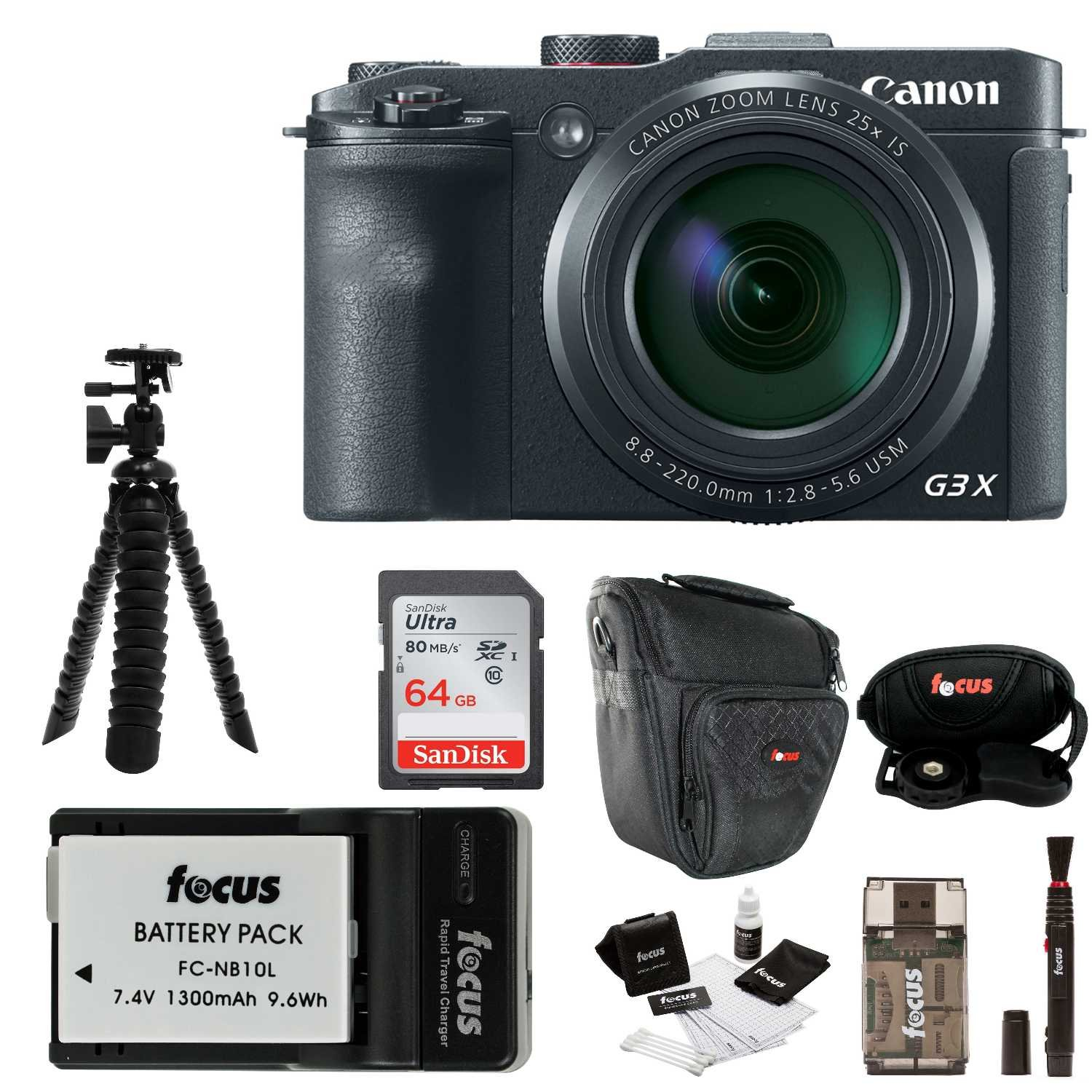 Canon Powershot G3 X 202 Megapixel Digital Camera With Wi Fi And Nfc 64gb Accessory Bundle Photo