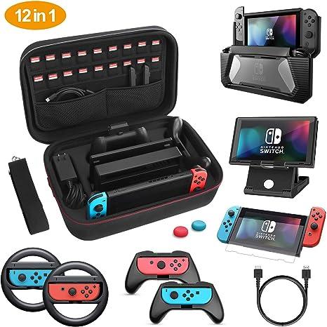 HEYSTOP Kit de Accesorios 12 en 1 para Nintendo Switch, con Funda de Transporte, TPU Cubierta Protectora, Joy-con Grip y Volante, Soporte,Protector de Pantalla, Apretones de Pulgar, Cable USB: Amazon.es: Electrónica