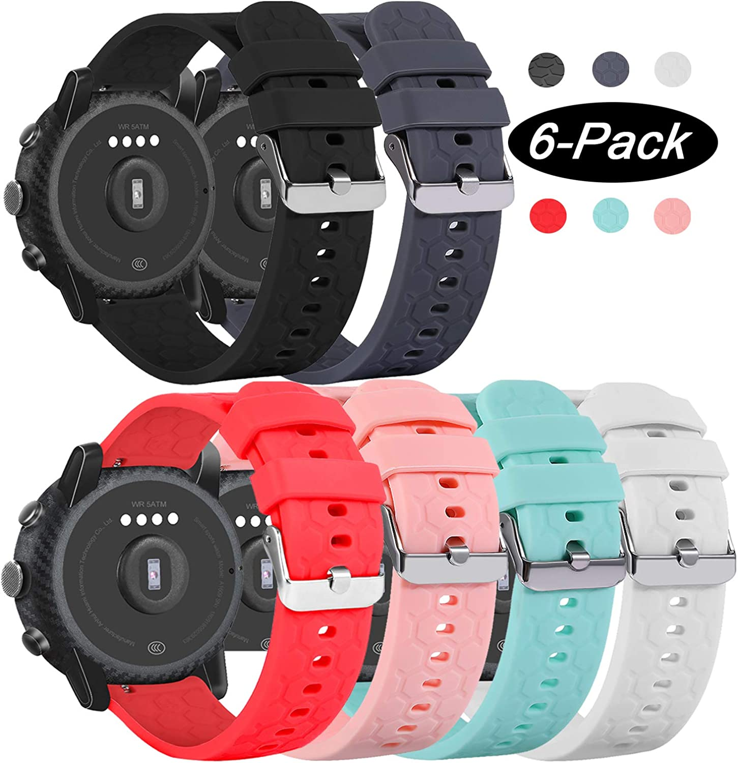 RuenTech Compatible with Fossil Gen 5, Explorist Gen 4 Band 22mm Silicone Sport Straps Soft Wristbands for Fossil Gen 5 Julianna/Carlyle HR Smartwatch