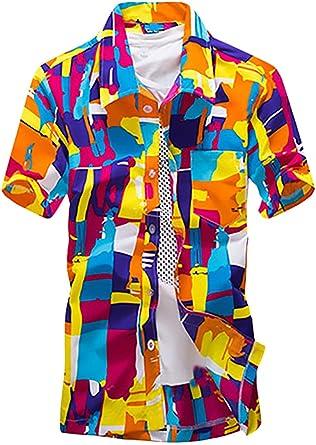 Camisas Hombre Tallas Grandes Verano Manga Corta Impresión Floral Hawaiana Camiseta Moda Anchas Casual Playa T Shirt Camisa Mens: Amazon.es: Ropa y accesorios