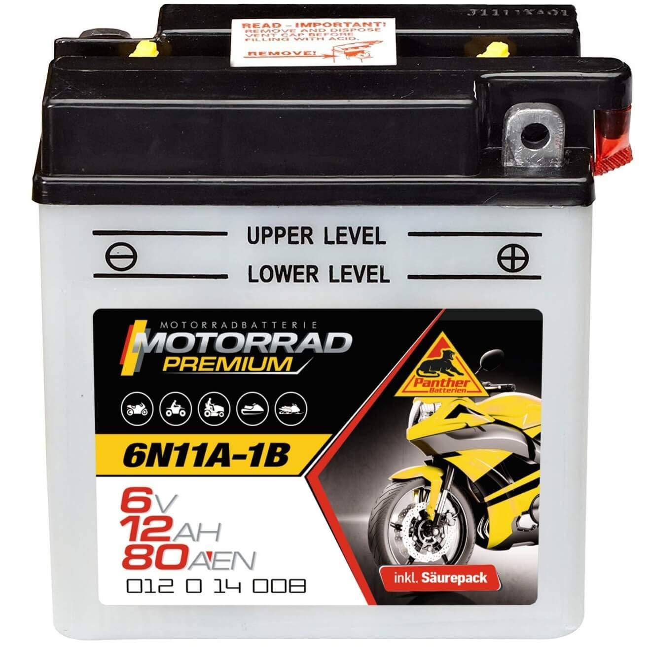 01214 Motorradbatterie Oldtimer Batterie 80 A//EN Panther 6N11A-1B 6 V // 12 Ah