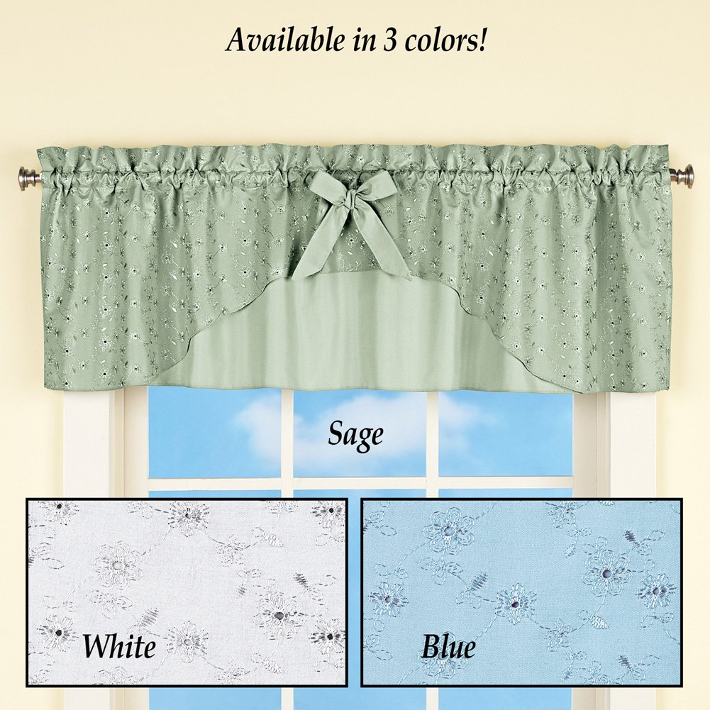 awesome Sage Green Window Valance Part - 17: Amazon.com: Collections Eyelet Ruffled Window Curtain Valance Topper with  Rod Pocket Top - for Kitchen or Bath, Sage: Home u0026 Kitchen
