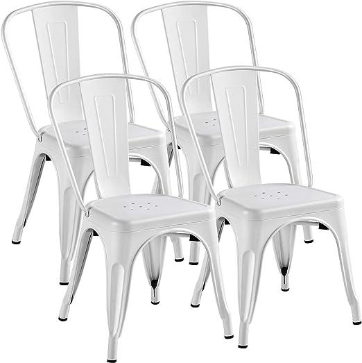 Yaheetech Lot de 4 Chaise de Salle à Manger Industrielle Chaise de Cuisine 45 cm H Moderne Empilable Tabouret avec Dossier Jardin Balcon Bistrot Café
