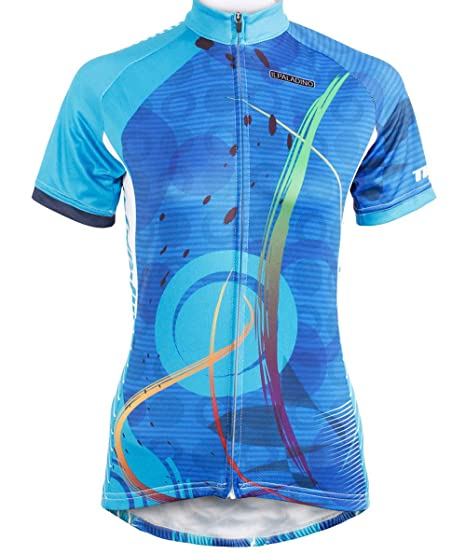497d0ff9d QinYing Women s Short Sleeve Outdoor Bicycle Bike Cycling Jersey Top Blue S