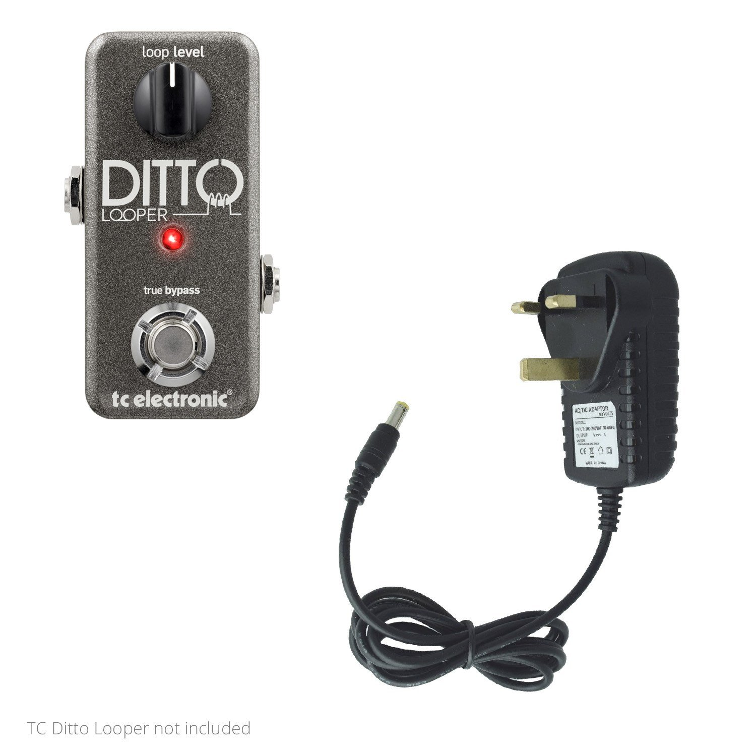 MyVolts 9V power supply adaptor compatible with TC Electronic Ditto Looper Effect pedal - UK plug - Premium UK-24324