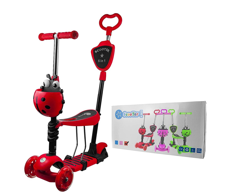 Gr/ün Profiseller Roller f/ür Kleinkinder 5 in 1 mit Abnehmbarem Sitz Leuchtrollen und Verstellbare Lenker Babys 2 bis 8 Jahre alt Verstellbarer Abnehmbarer Kinderroller