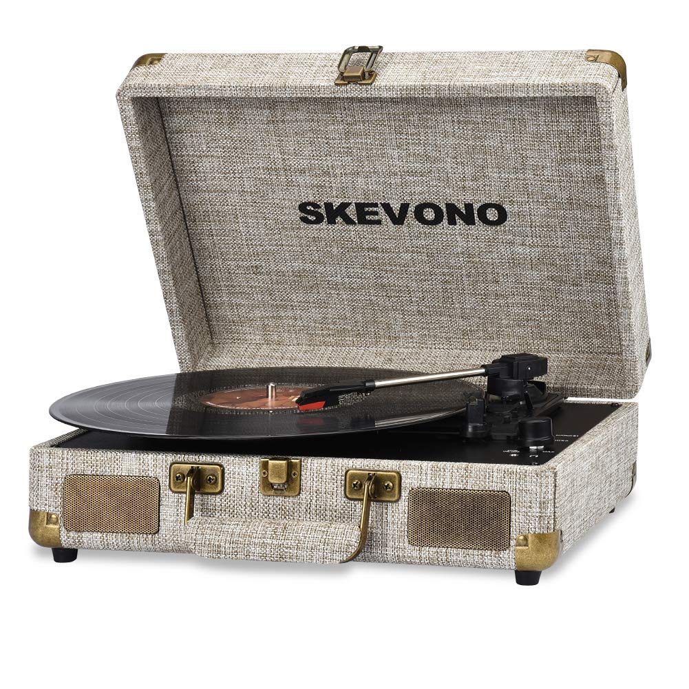 Vinyl Record Player, SKEVONO 3 Speed Portable Suitcase Turntable, Bluetooth Vintage Record Player with 2 Built-in Speakers, Supports RCA Output/Headphone Jack/Phone Music Playback (Light Beige Linen) by SKEVONO