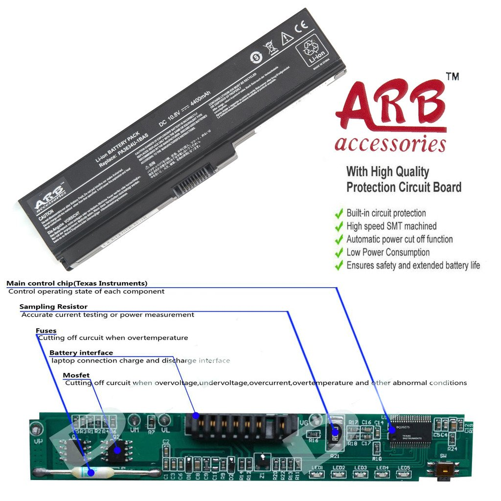 Arb 6 Cell Replacement Laptop Battery For Toshiba Protection Circuit Board Products Electronics