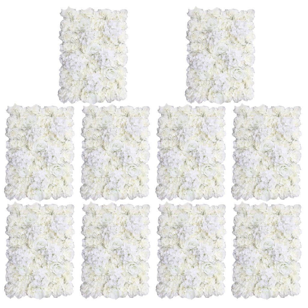 MonkeyJack 10 Pieces Romantic Artificial Flowers Wall Panel Wedding Venue Floral Decor-Cream