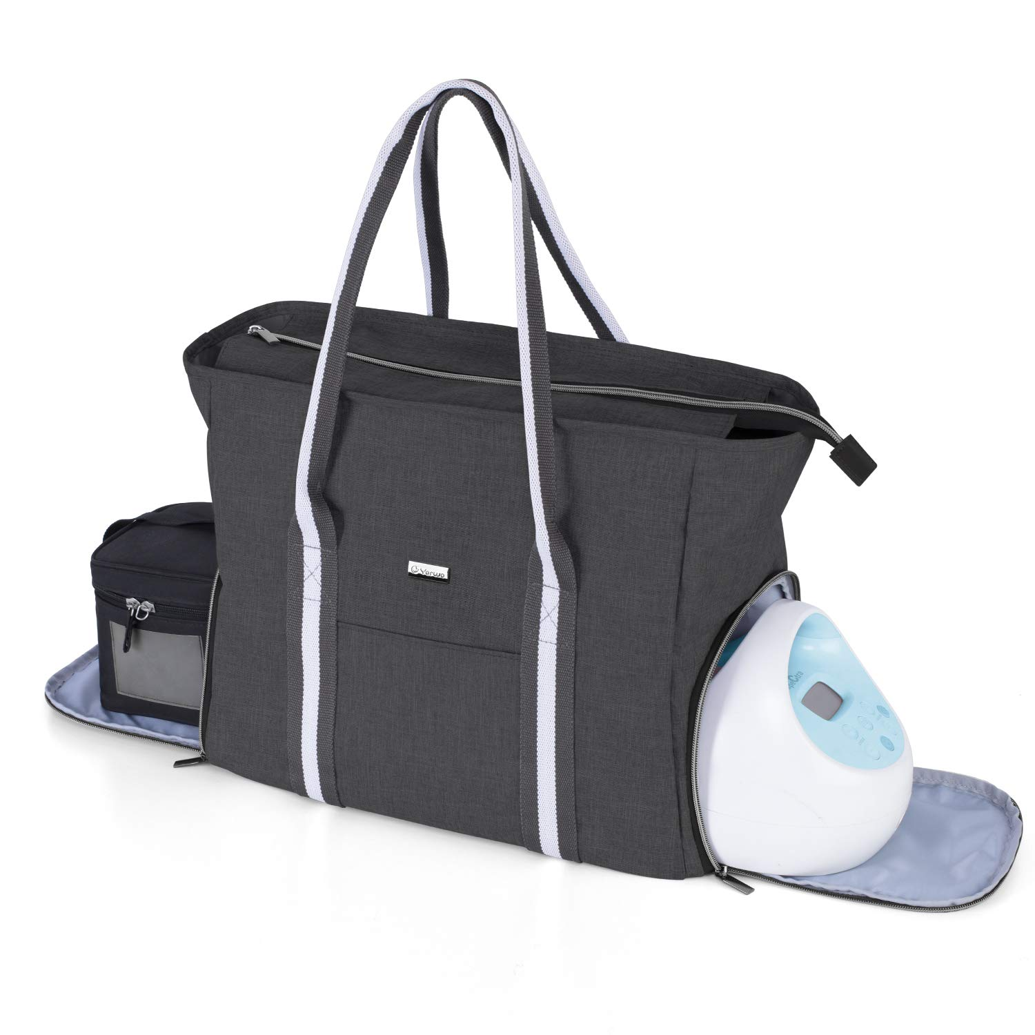 Yarwo Breast Pump Bag with Laptop Sleeve, Portable Travel Tote Bag for Most Major Breast Pump and Cooler Bag, Perfect for Working Nursing Moms, Black