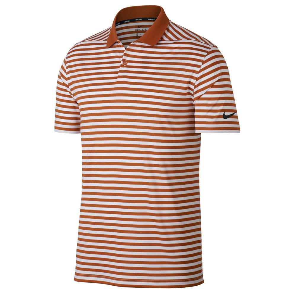 Nike New DRI FIT Victory Stripe Golf Polo Desert Orange/White/Black Small