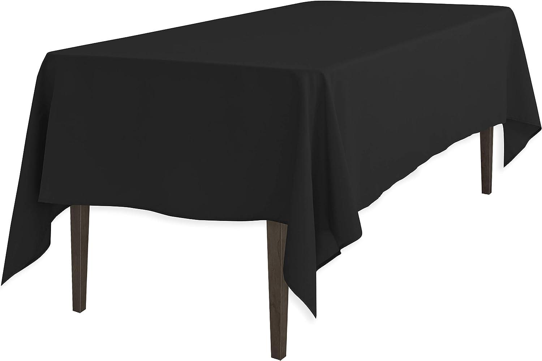 LinenTablecloth 60 x 126-Inch Rectangular Polyester Tablecloth Black