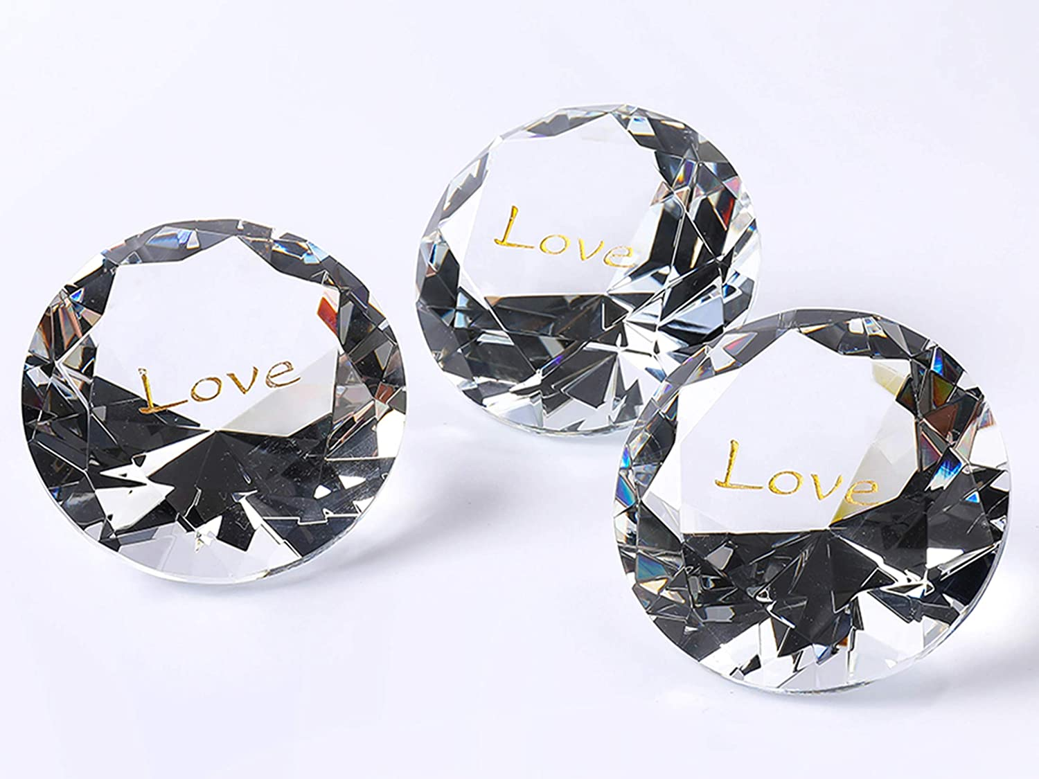 "ROCKIMPACT 12PCS Love 60mm (2.5"") Extra-Large Engraved Clear Crystal Diamond Home Décor, Prism Suncatcher Rainbow Maker, Wedding Table Decoration, Paperweight Affection Love Diamond Glass Crystals"
