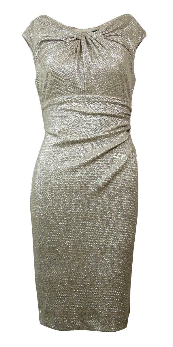 Ralph Lauren Lauren Women's Metallic Ruched Sheath Dress (14P, White/Gold)