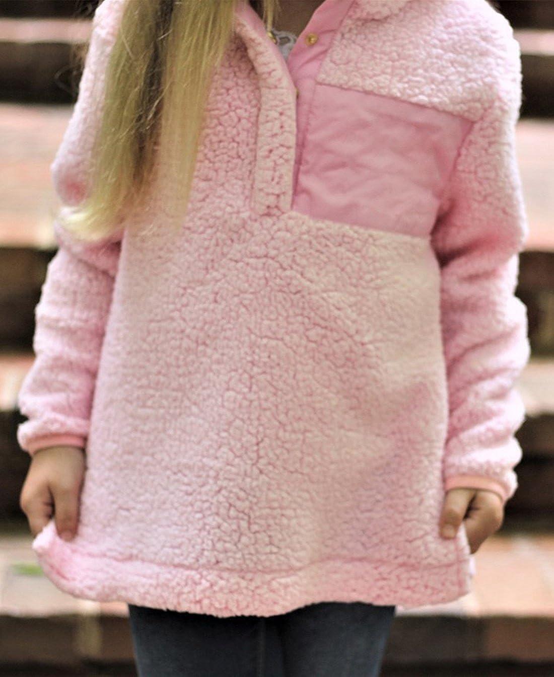 ZESICA Girls Long Sleeve Stand Buttons Collar Pebble Pile Fleece Sherpa Sweatshirts Pullover
