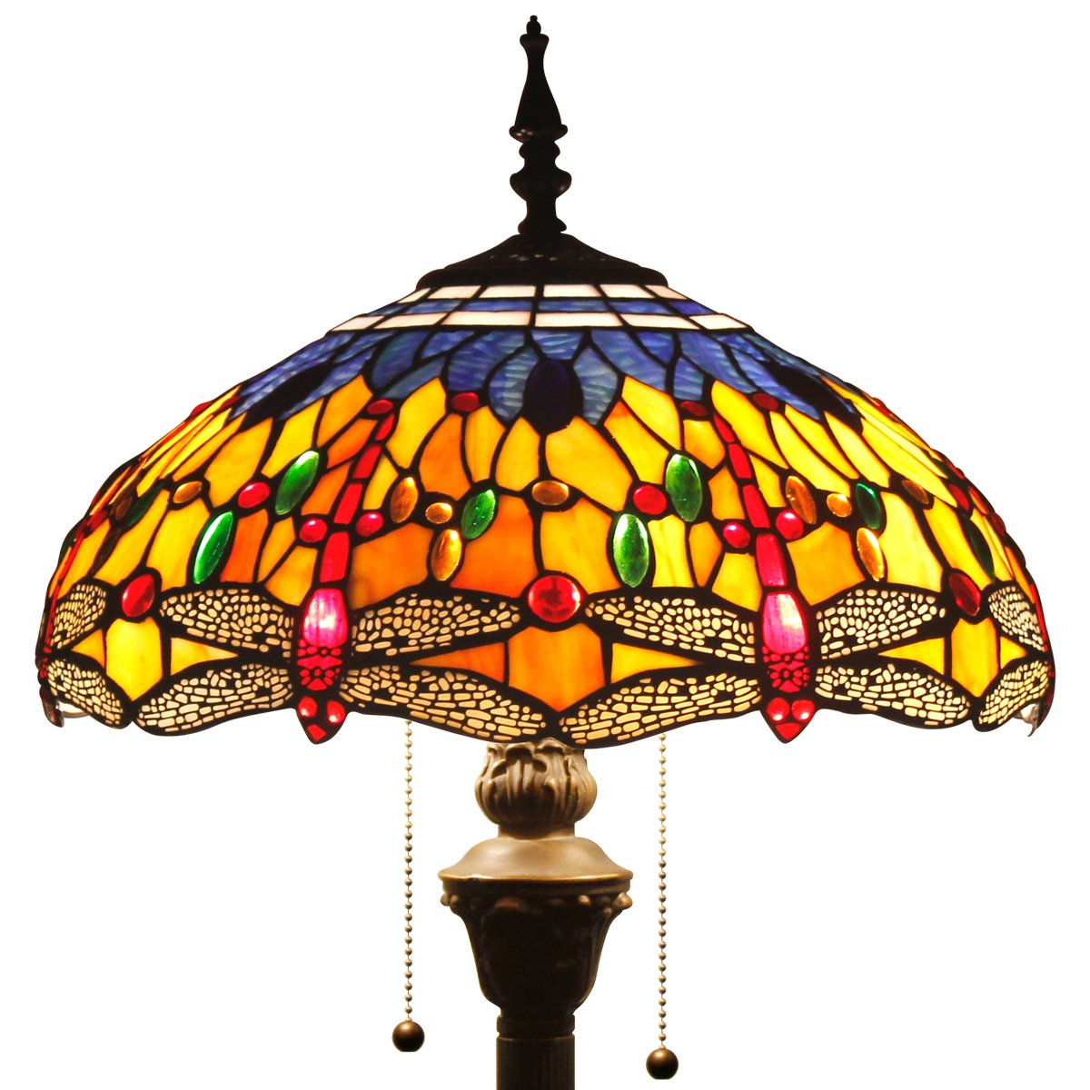 Tiffany Style Floor Standing Lamp 64 Inch Tall Orange Blue Stained Glass Shade Crystal Bead Dragonfly 2 Light Antique Base for Bedroom Living Room Reading Lighting Table Set S168 WERFACTORY