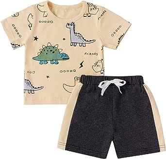 Juego de 2 Piezas de Ropa Deportiva para Niño Bebé Conjunto Camiseta de Manga Corta con Estampado de Dinosaurio + Pantalones Cortos Deportivos