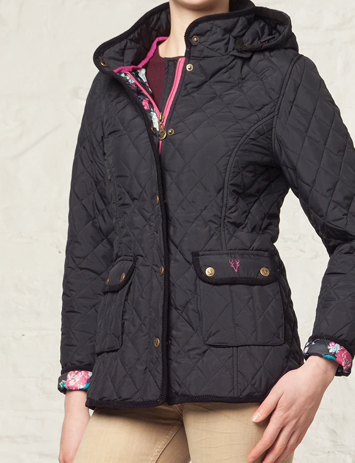 VEDONEIRE Womens Quilted Jacket with detachable hood (5038) Navy ...
