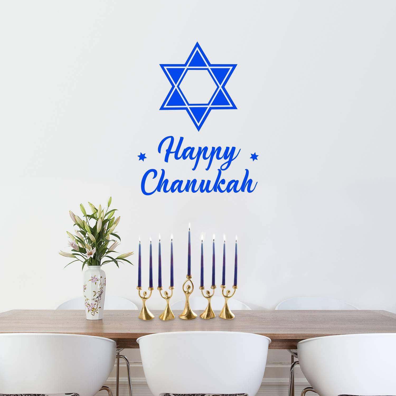 "Vinyl Wall Art Decal - Happy Chanukah - 28"" x 22"" - Star of David Jewish Holiday Decoration Sticker - Indoor Outdoor Home Office Wall Door Window Bedroom Workplace Decor Decals (28"" x 22"", Blue)"