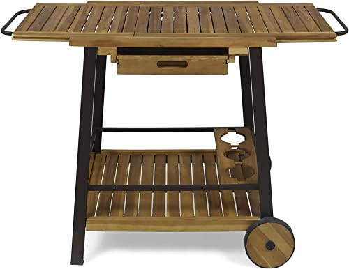 Christopher Knight Home Michaela Indoor Acacia Wood Bar Cart with Reversible Drawers, Adjustable Tray Top and Wine Bottle Holders, Teak Finish, Rustic Metal