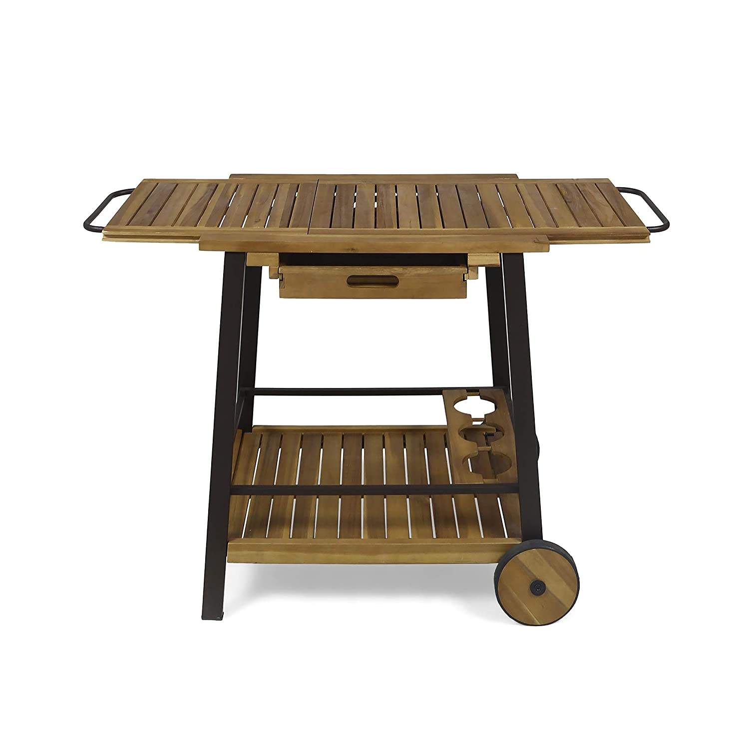 Christopher Knight Home Michaela Outdoor Wood and Iron Bar Cart with Tray Top and Bottle Holders, Teak Finish