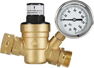 Kohree RV Water Pressure Regulator Valve, Brass Lead-Free Adjustable Water Pressure Reducer with Gauge and Inlet Screened Filter for RV Camper Travel Trailer
