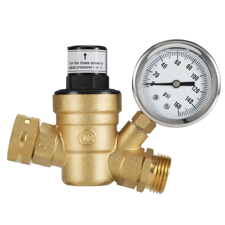 Kohree RV Water Pressure Regulator Valve, Brass Lead-Free Adjustable Water Pressure Reducer with Gauge and Inlet Screened Filter for RV Camper Travel Trailer by Kohree