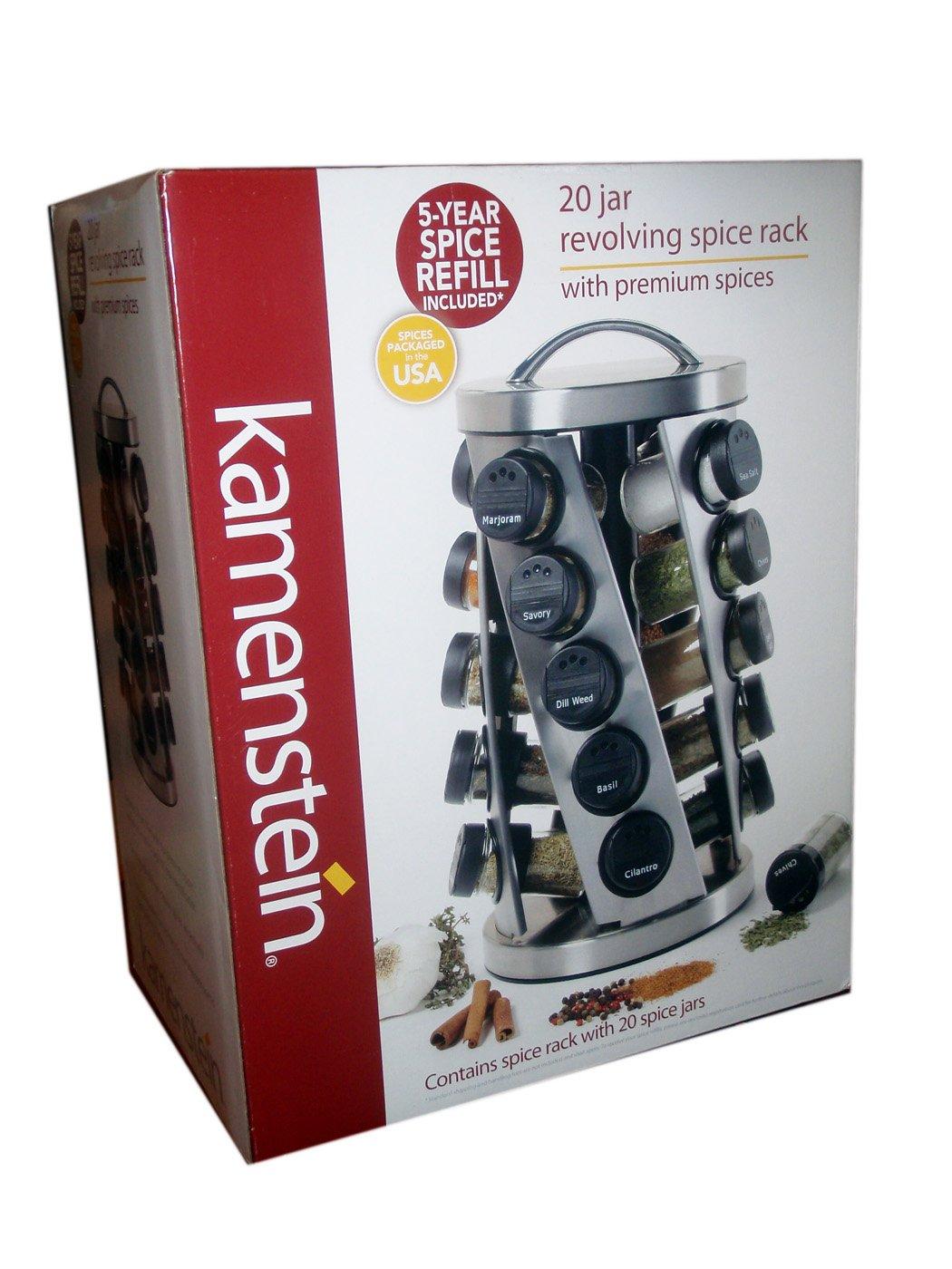 Kamenstein 20 Jar Revolving Spice Rack with Premium Spices by Kamenstein