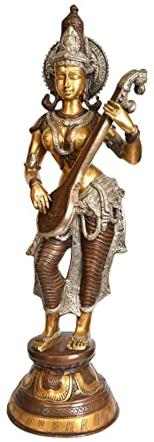 Idol Collections Large Standing Goddess Saraswati Brass Statue, Standard, Multicolor