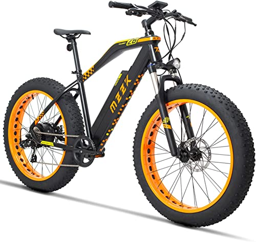 MZZK 500W Electric Mountain Snow Bike with 26 Inch Fat Tires and Removable 48V 13Ah Li-on Battery Orange