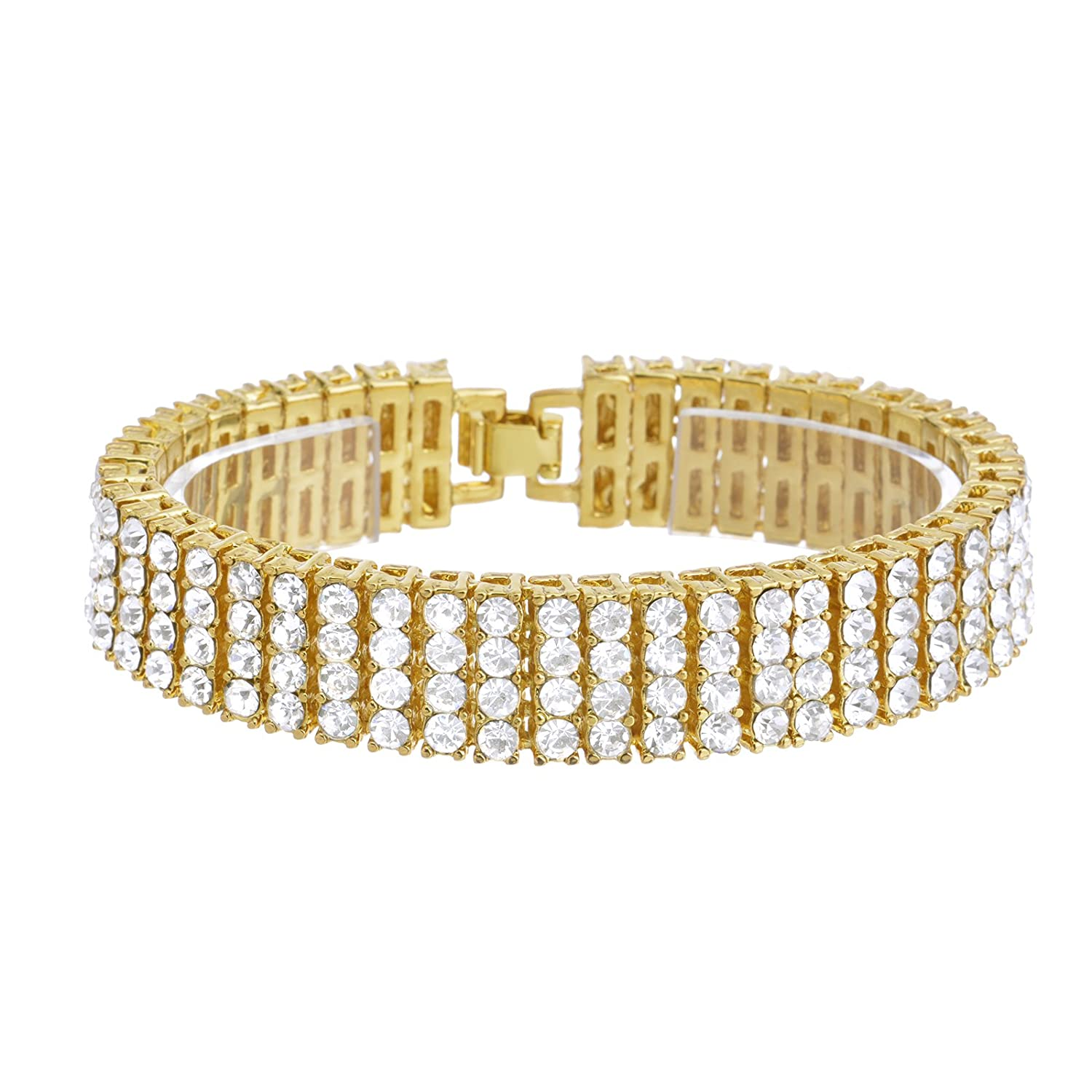 """Men's Fashion Gold Toned Iced Out Lab Created Diamond 16 mm X 8"""" Bracelet NB 04 G"""